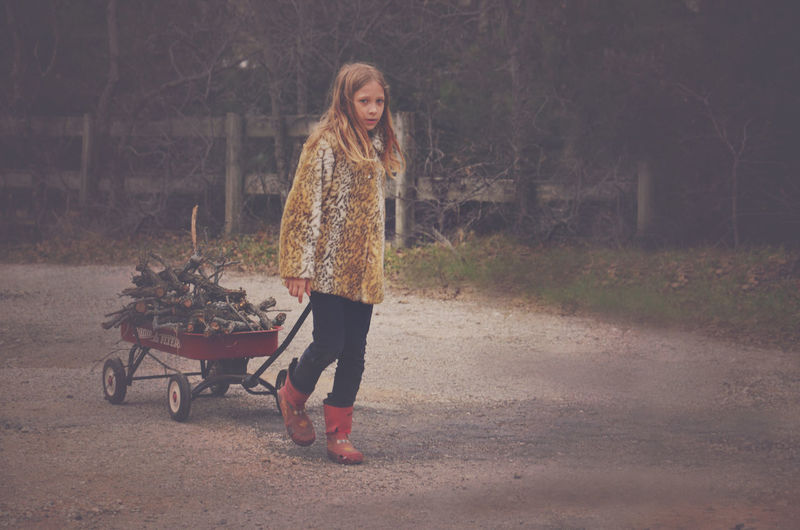 Lauren gathering firewood Child Cold Day Firewood Girl Outdoor Chores Outdoors Wagon