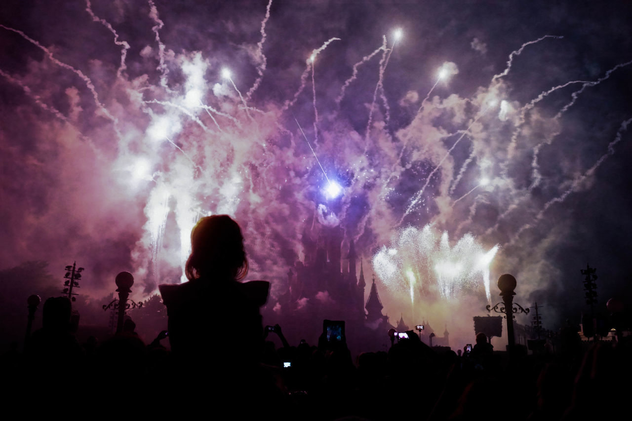 Arts Culture And Entertainment Castle Celebration Childhood Crowd Disney Disneyland Disneyland Paris Enjoyment Event Fairytale  Fireworks Fun Illuminated Large Group Of People Leisure Activity Lifestyles Little Girl Night Paris Performance Person Princess Silhouette Sky