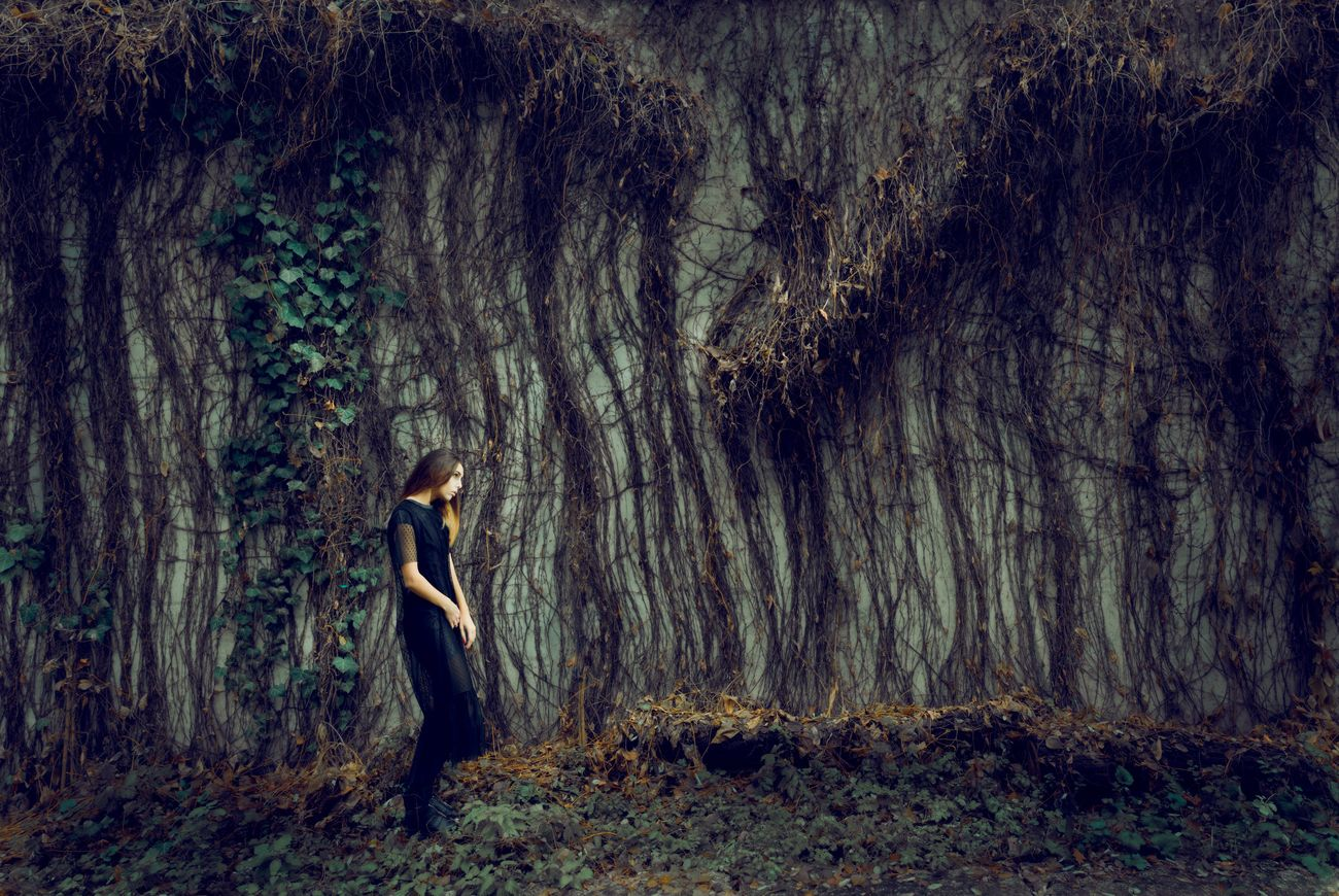 Forest One Woman Only One Young Woman Only Nature Fairy Tale Fantasy Beauty WoodLand Beauty In Nature Outdoors Evening Gown Emotive One Person Tree Surreal Girl Mysterious Full Length Nature Dream Preraphelites  Day Dreaming Dreaming Cold Mystery