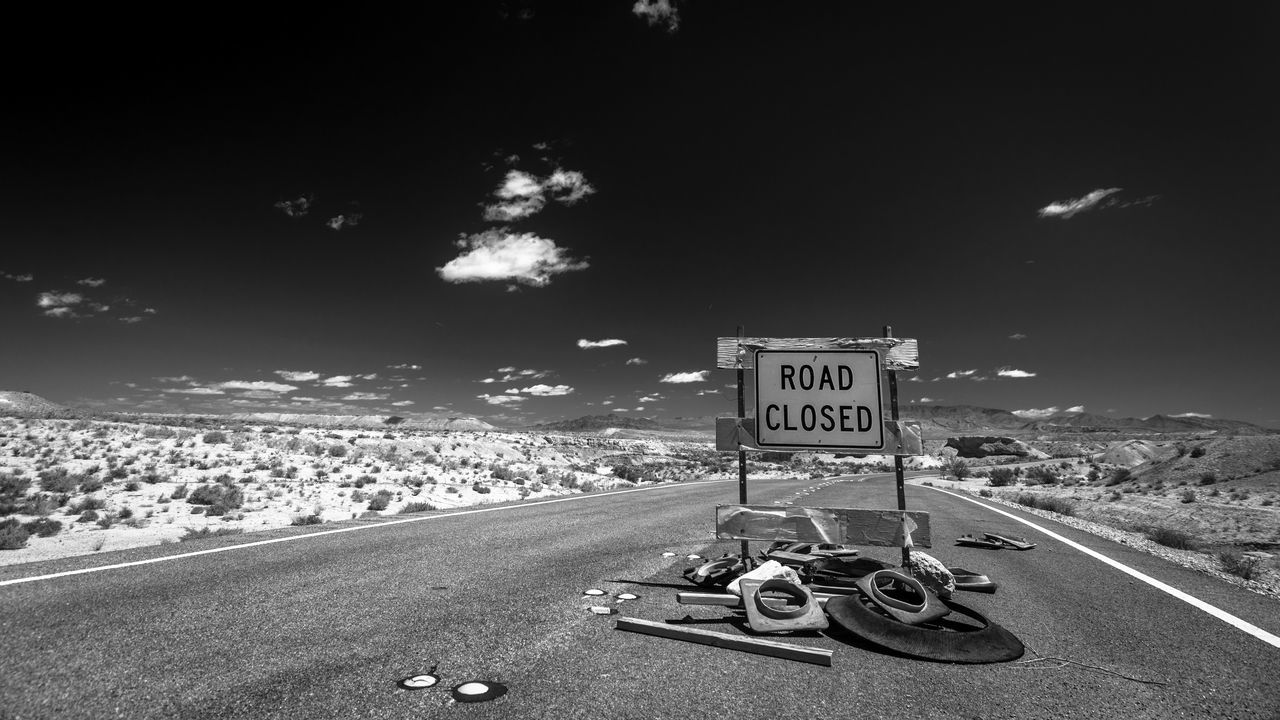 ROAD CLOSED -BNW- // Black & White Bnw Bnw_friday_eyeemchallenge Closed Clouds And Sky Empty EyeEm Best Shots Fortheloveofblackandwhite Landscape Monochromatic Monochrome Nature No People Outdoors Road Road Road Marking Road Sign Roadscapes Roadtrip Sign Sky The Way Forward Vanishing Point