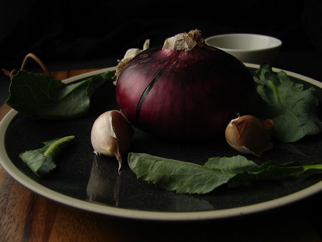 Black Background Food Food And Drink Freshness Garlic Healthy Eating Horizontal Leaf No People Plate Red Onion Vegetable Wooden Board