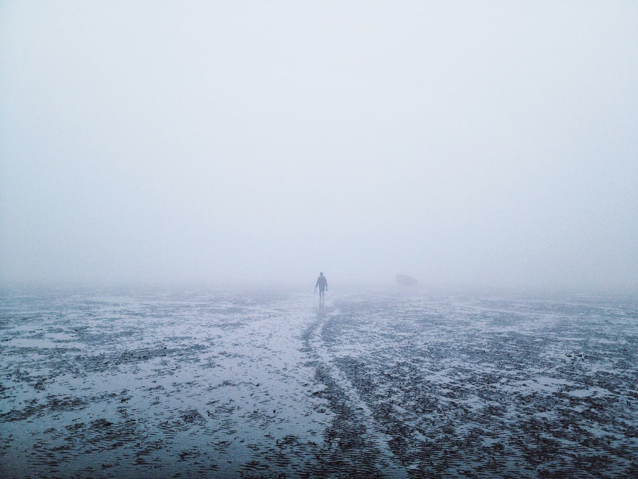 into the wild Alone Fade Fog Full Length Lifestyles Lost Outdoors Sea Tranquility Unrecognizable Person Water Weather Winter People And Places