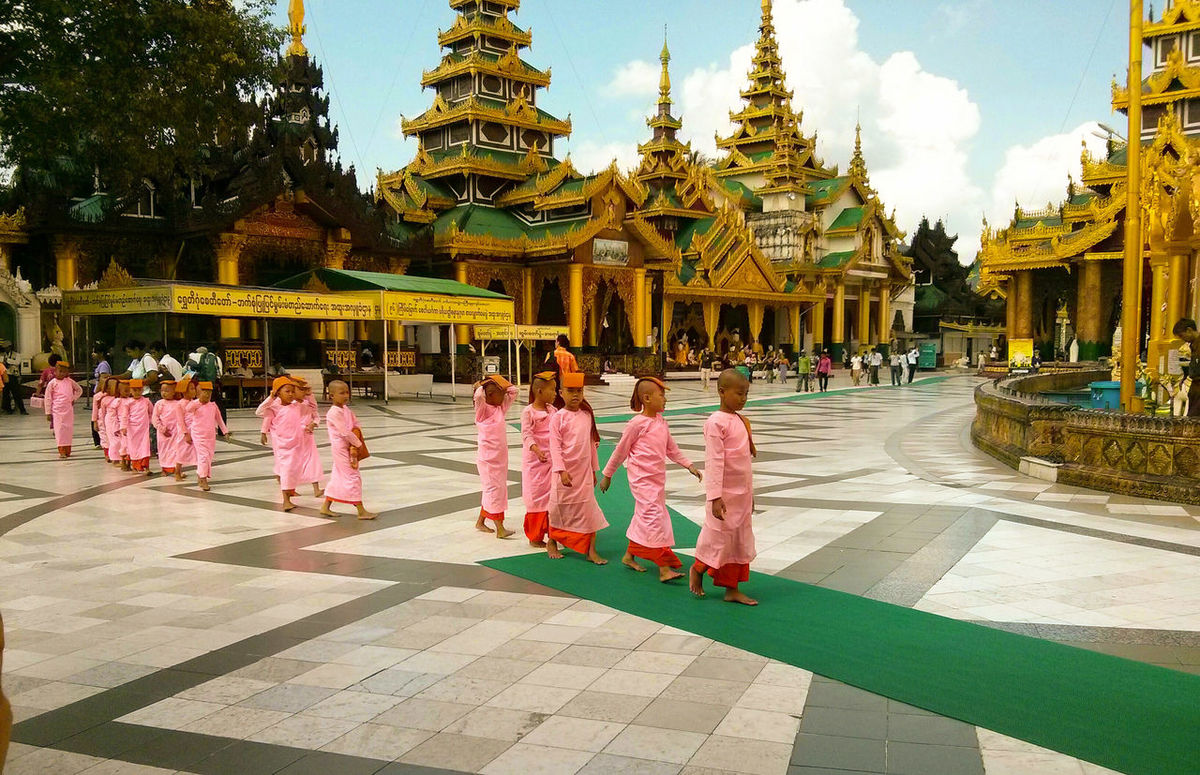 Burma Myanmar The Color Of School Shwedagon Pagoda Buddhist School for Orphans Pure Gold Amazing Spirituality Architecture Built Structure Tree Building Exterior Travel Destinations Temple - Building Dome Outdoors Footpath Day Place Of Worship In A Row
