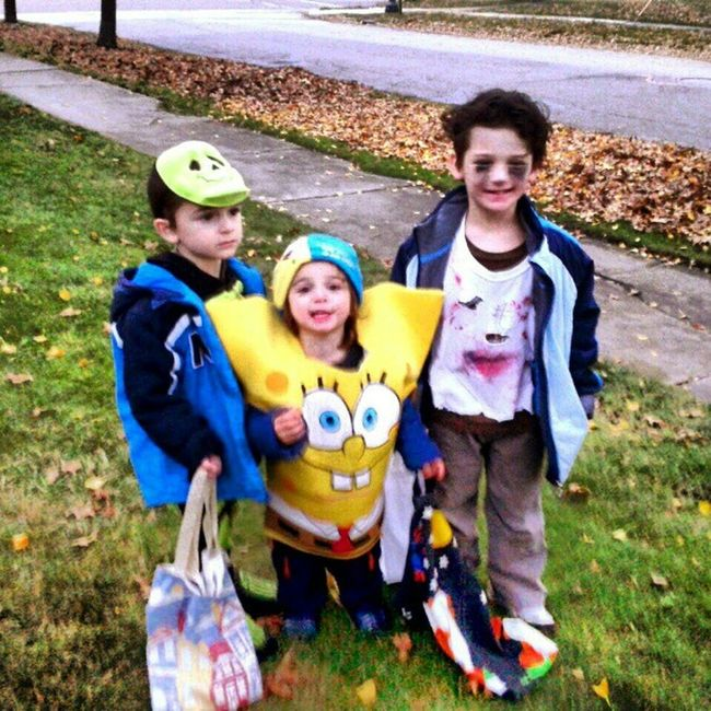 The boys TrickOrTreating Halloween