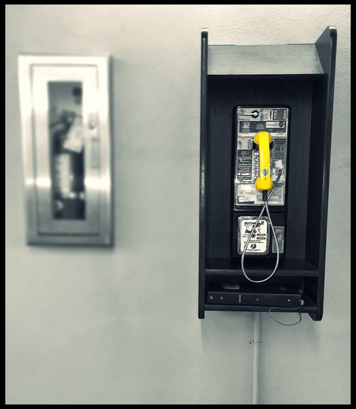 Taking Photos Check This Out Vintage Feeling Splash Of Color Black And White Photography Old School Photography Vintage Photography Payphone Yellow