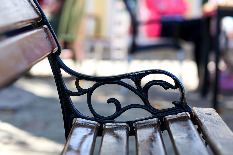 Bench Bench Ironwork  Benches Day No People Outdoors Seating Seating Bench Slats