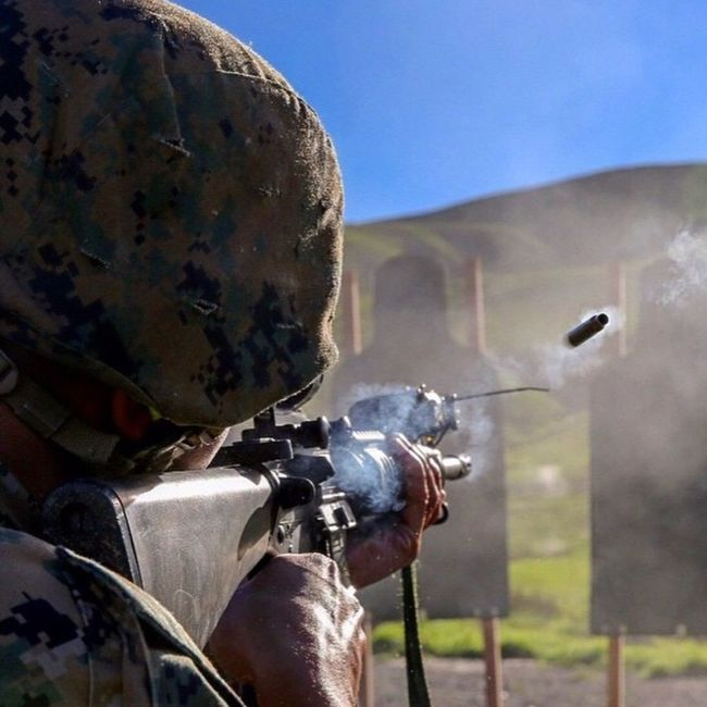 A U. S Marine firing his M16A4 Assult Rifle at Parris Island USA Us Military USMC M16A4 Parris Island