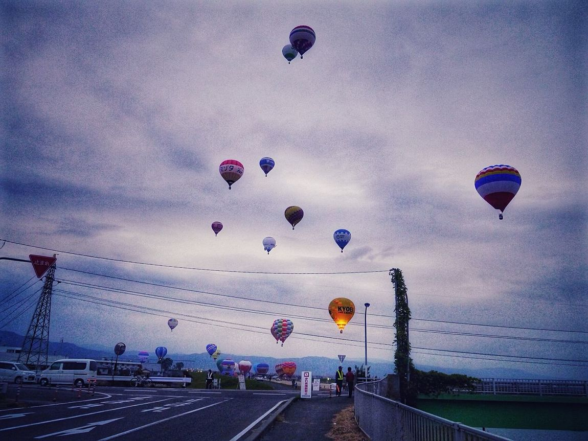 Fly Away 6:51 a.m / 2015 SAGA International Balloon Fiesta This Morning Riverwalk Hot Air Balloons GX1+KitLens 28mm Snapseed_HDR plus How's The Weather Today? Cloudy morning Kasegawa Riverside Saga,Japan