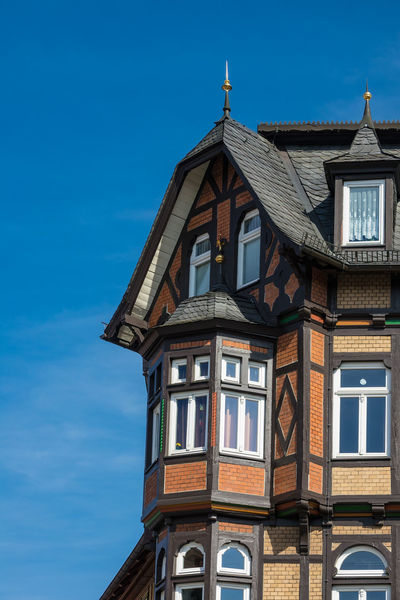 Buildings in Wernigerode, Germany. City Relaxing Architecture Blue Building Exterior Buildings Built Structure Day Detail Harz Journey No People Outdoors Saxony Anhalt Tourism Town Travel Destinations Vacation Window Windows