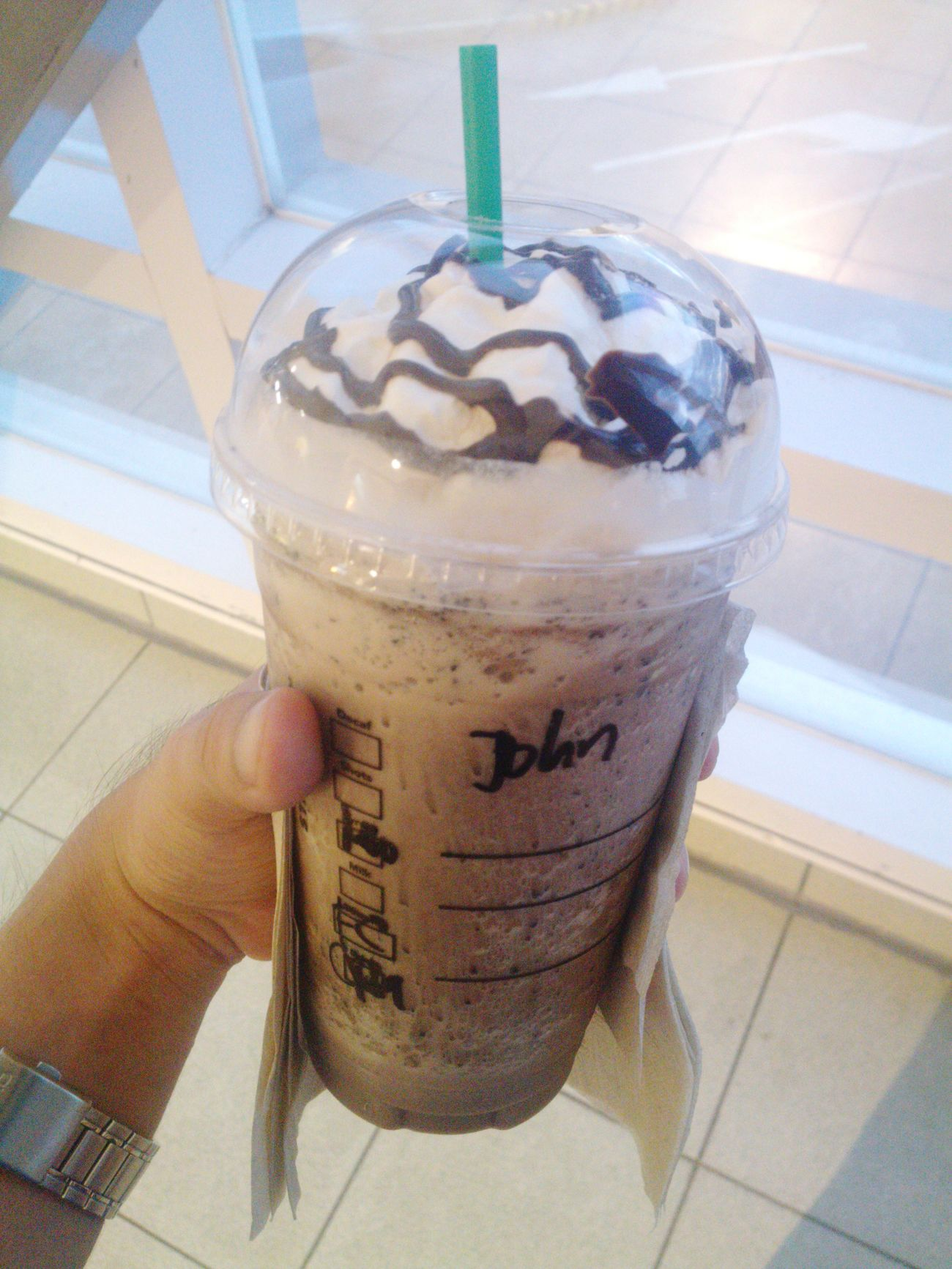 John it is. :) John Starbucks Chocochip Frappe Smsucat Sbph