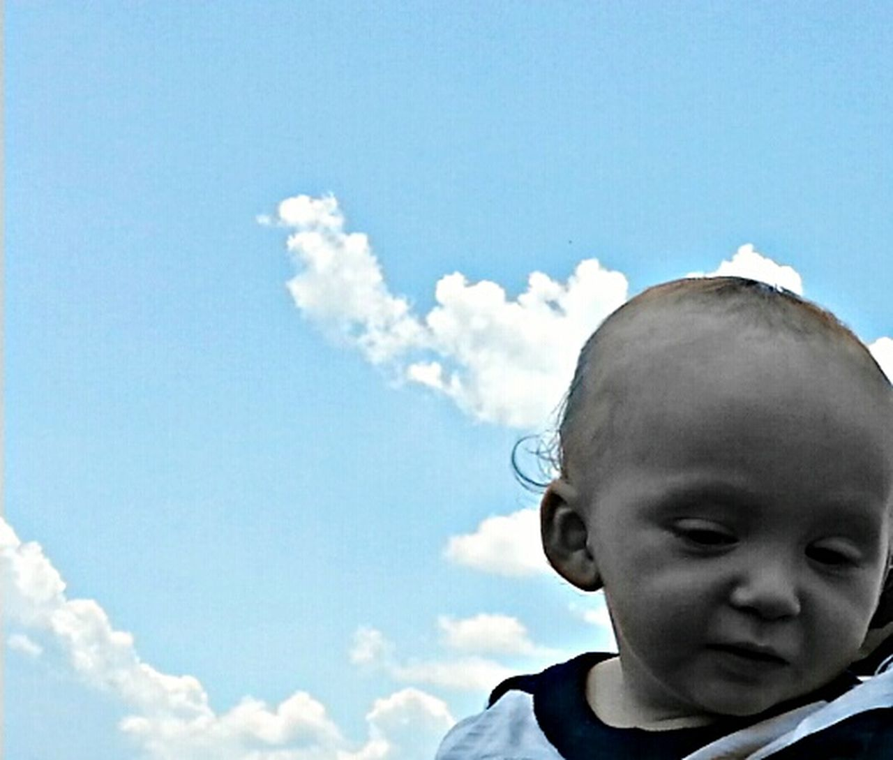 The Portraitist - 2015 EyeEm Awards The Moment - 2015 EyeEm Awards My Sweet Baby Boy Sky & Clouds Head In The Clouds Day Dreamer Blue Sky EyeEm Gallery Color Splash Portrait Sweet Day Dreamer, Cobalt Blue by Motorola
