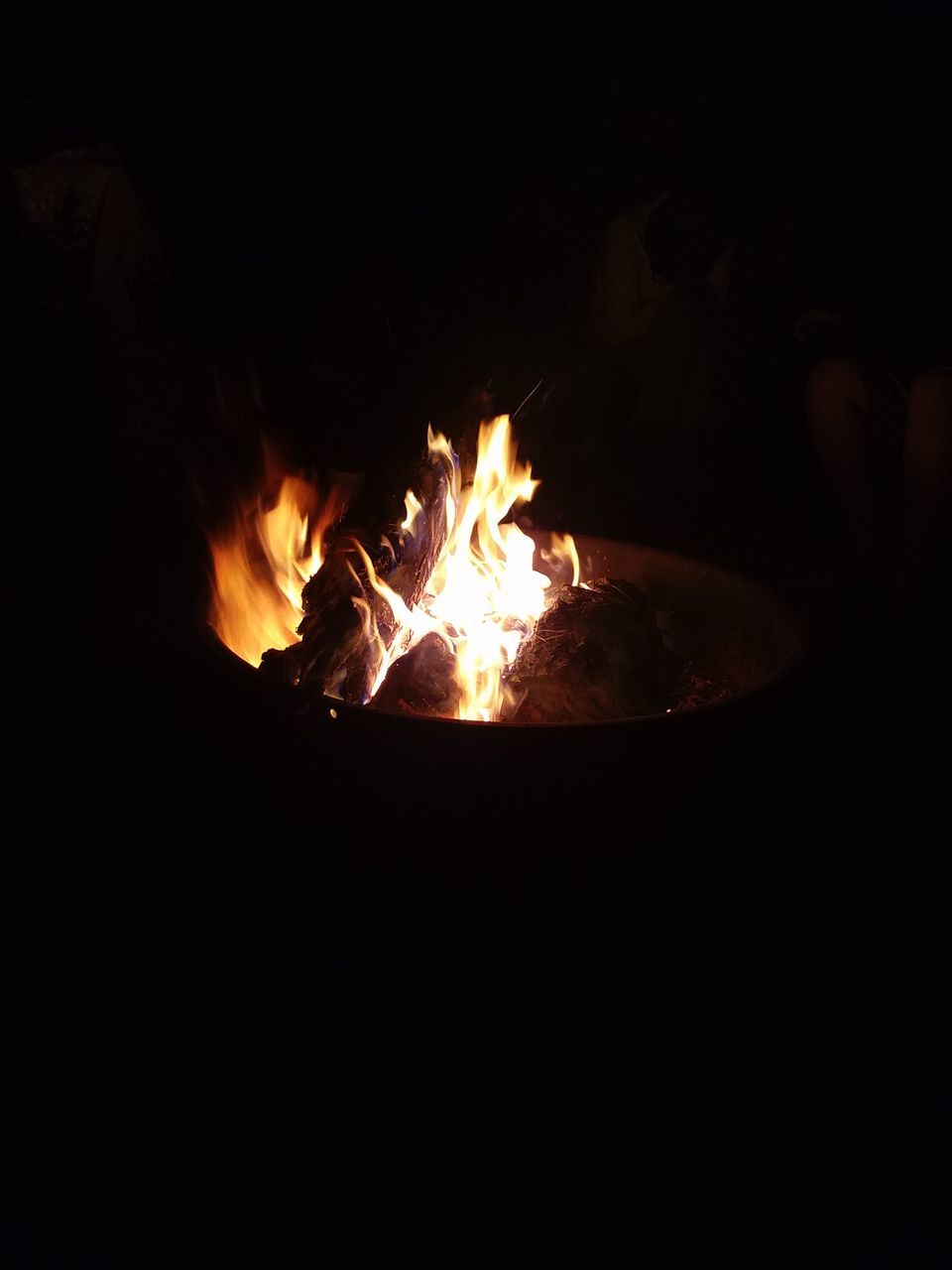 burning, night, flame, heat - temperature, no people, close-up, outdoors, bonfire, fire pit, sky