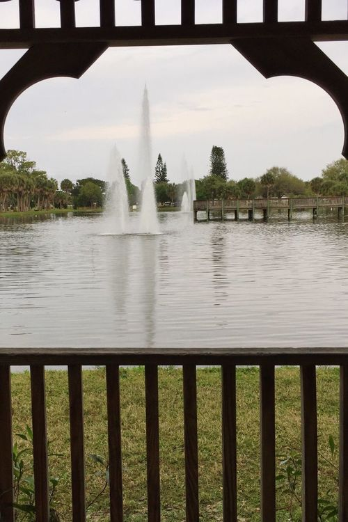 View from a gazebo Gleason Park Indian Habour Beach Indian Harbor Beach Park Florida Park Gazebo Gazebo At The Park Water Fountains Lake View