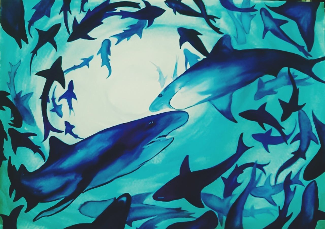 Blue Underwater UnderSea Beauty In Nature Illustration Artworks Art Watercolor Watercolorpainting Painting Creative Creativity Waterblog Exploration Watercolours Nature Sharks SaveNature