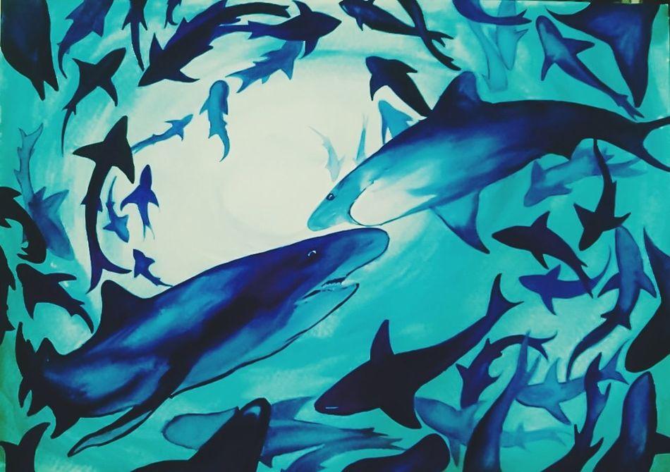 Blue Underwater UnderSea Beauty In Nature Illustration Artworks Art Watercolor Watercolorpainting Painting Creative Creativity Waterblog Exploration Watercolours Nature Sharks SaveNature