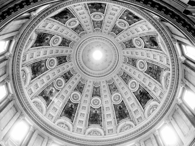 #architecture #blackandwhite #church #Copenhagen #domedroof #Majestic Architectural Feature Capital Cities  Directly Below Dome