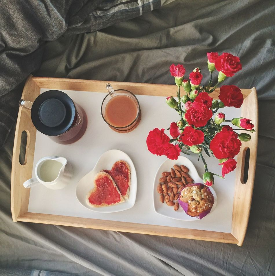 Flower High Angle View Rose - Flower Freshness Food And Drink No People Indoors  Table Drink Nature Day Breakfast Breakfast ♥ Beverage Hottea Coffee Food Bed Bed And Breakfast Bedsheet Morning Morning Rituals Love