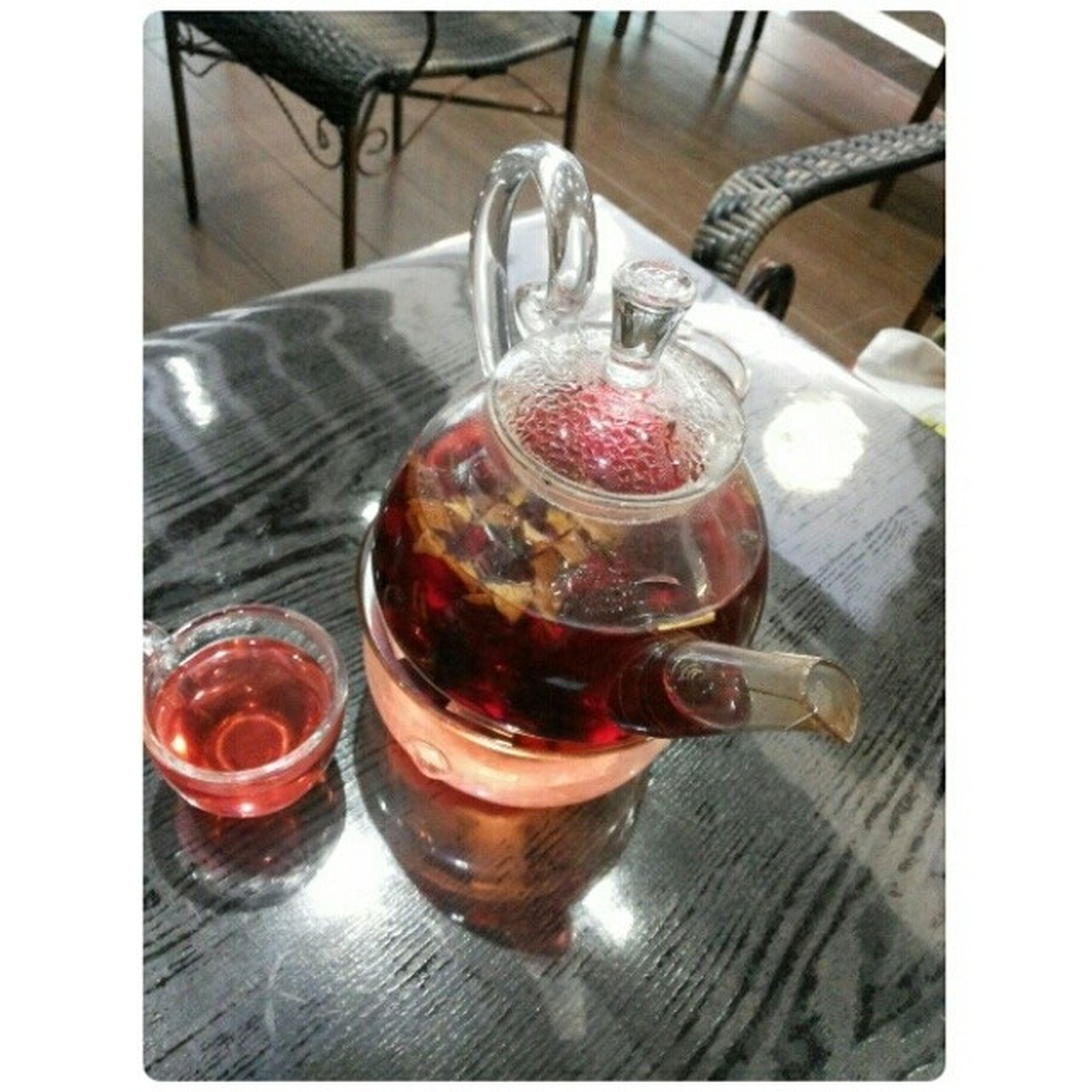 transfer print, indoors, food and drink, auto post production filter, table, freshness, still life, drinking glass, drink, close-up, glass - material, refreshment, high angle view, glass, red, transparent, spoon, no people, food, sweet food