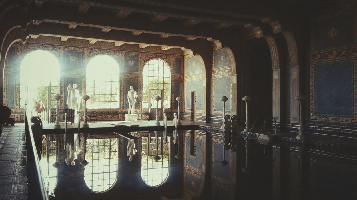 Arts Culture And Entertainment Pool Reflection Indoors  No People Built Structure Pattern, Texture, Shape And Form Travelphotography Old Buildings Californiaadventures Life In Colors Natural Light Hearst Castle Illuminated Enjoying Life From My Point Of View