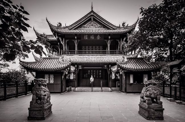 Blackandwhite Temple Chengdu China