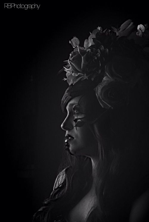 Head Dress Portrait Model Flowers Black And White
