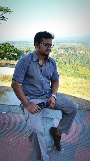 My brother at the top level of Meghla Resort, Bandarban District, Bangladesh.