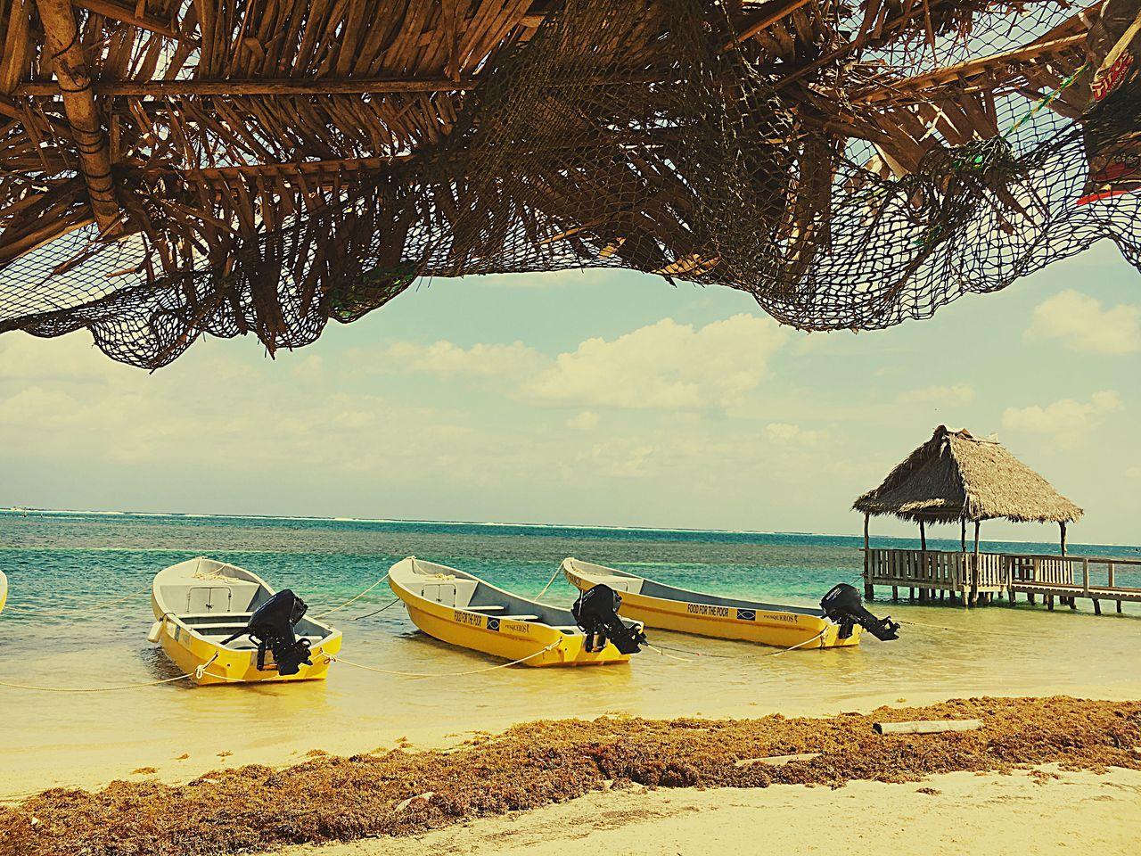 Garifuna Shore. Beach Blue Sky Transportation Sea Honduras Hondurasturistica