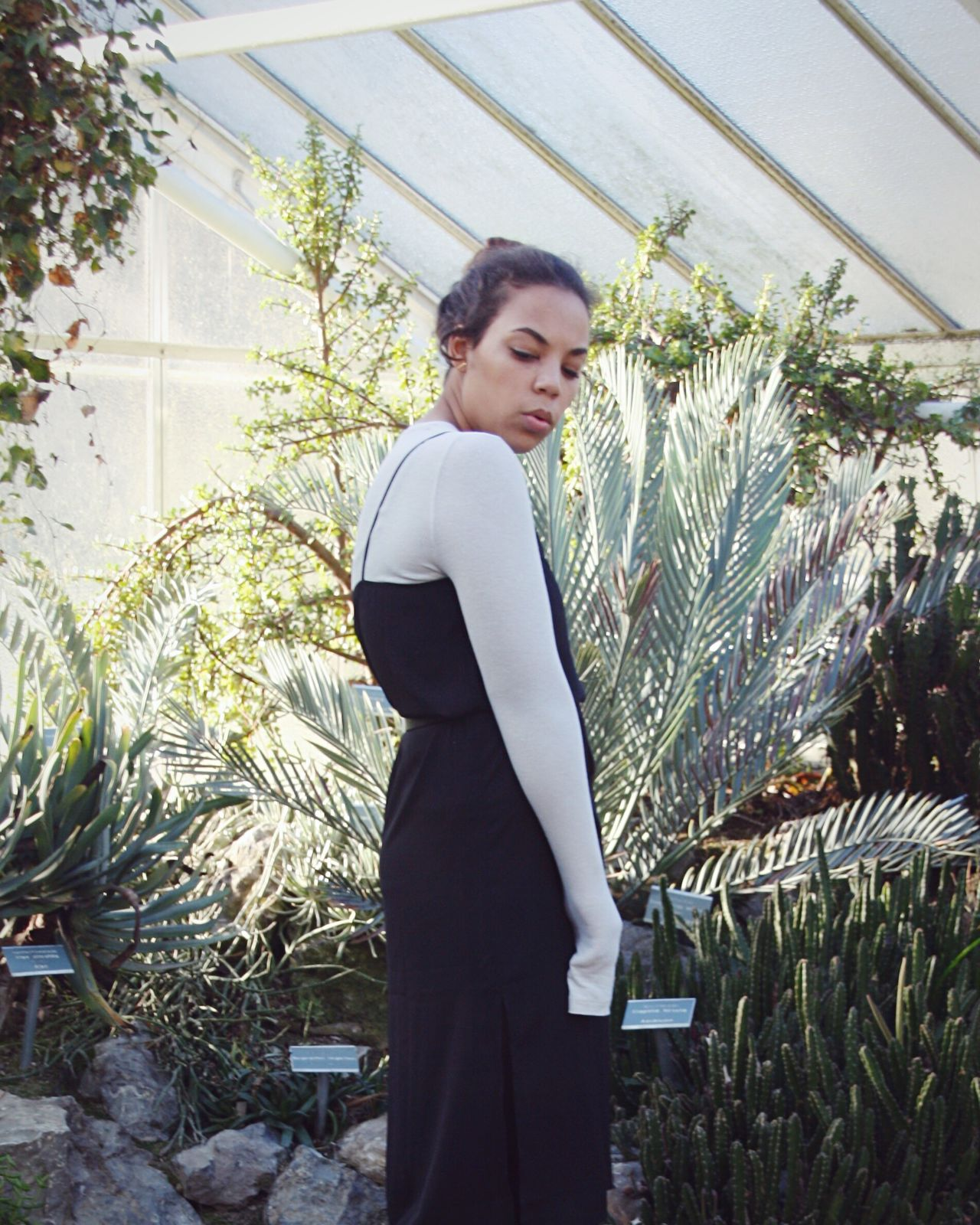 Greenhouse Editorial One Woman Only Standing Plant Entrepreneur Greenhouse Day Editorial  Fashion Trend Fashioneditorial Dress Black
