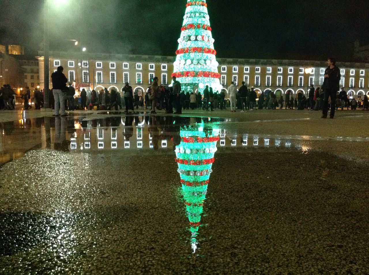 Pre-holiday streets filled with decorated spirit Architecture Decorations Lights In The Dark Lisbon - Portugal Mirrored Reflection Night Lights Puddle Reflections Reflected Holidays,