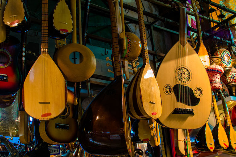 Arabic Arabic Guitar Arts Culture And Entertainment Guitar Guitars Instanbul Large Group Of Objects Market Music Music Shop Musical Instrument Musical Instruments Shop Traditional