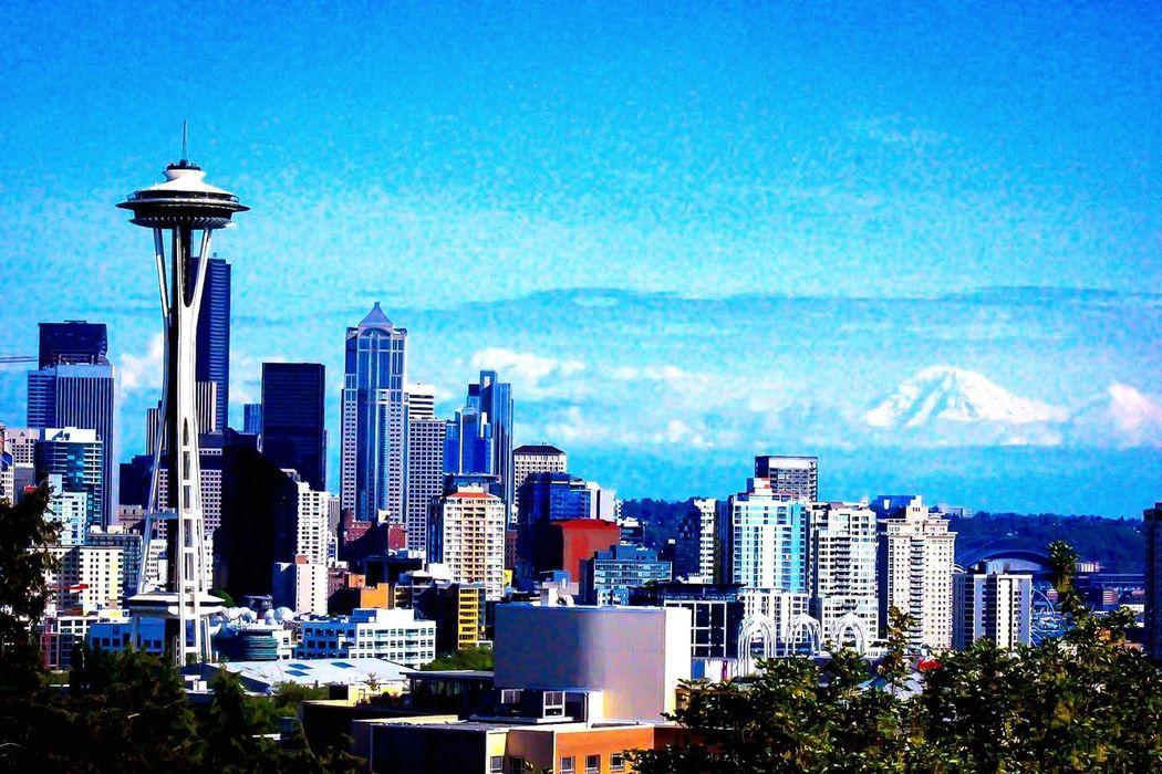 Seattle Seattle Skyline Space Needle Mt. Rainier I Love My City