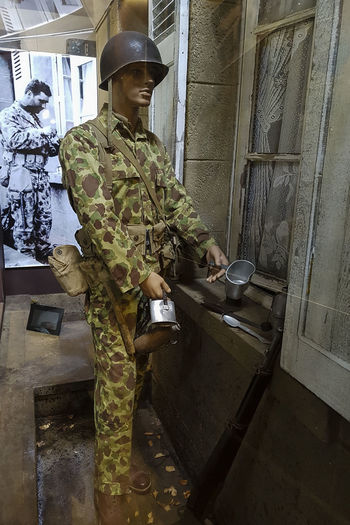 Overlord Museum, Colleville-sur-mer, Normandy, France, July 2017 D-Day Operation Overlord Overlord Museum Army Soldier Camouflage Clothing Education Exhibition Exhibits History Military Museum One Person Overlord Uniform