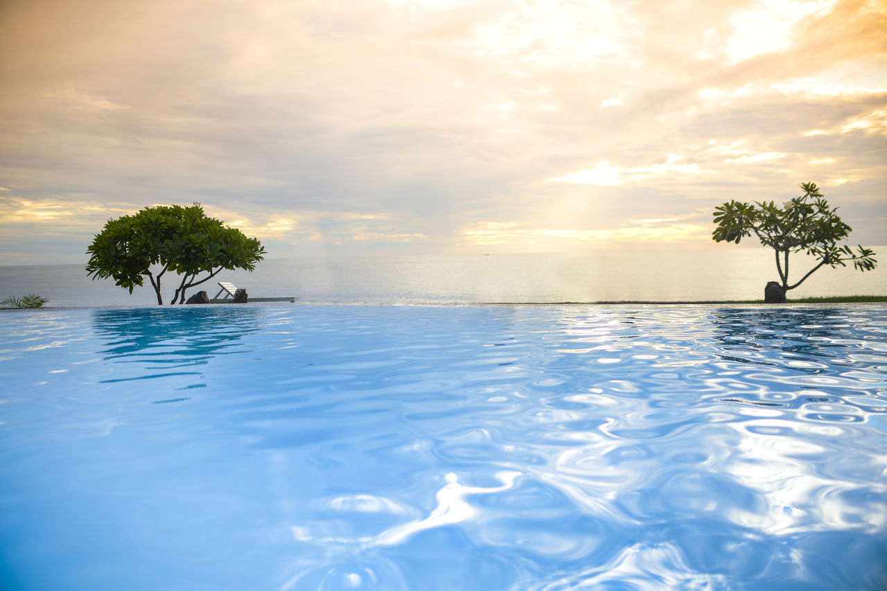 Infinity Pool Against Cloudy Sky