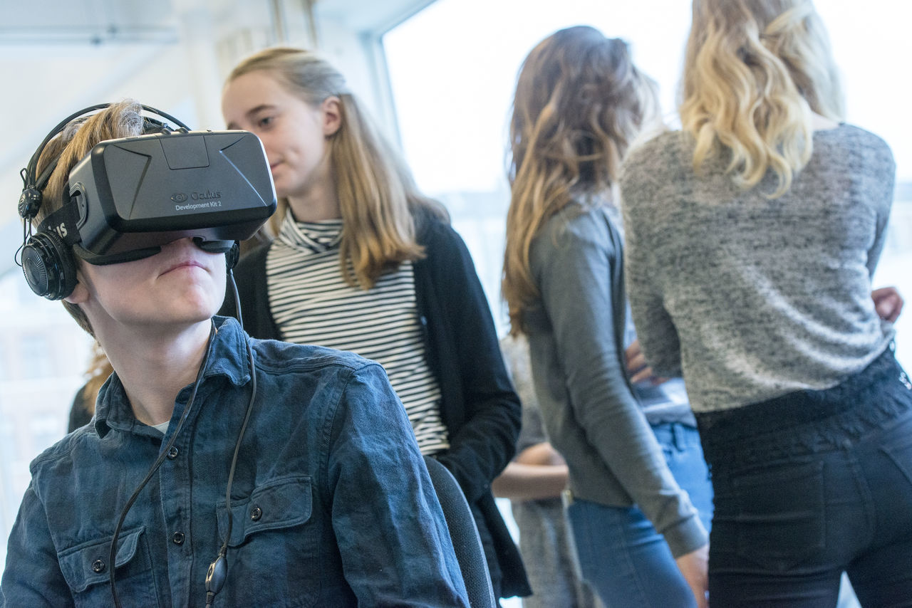 Copenhagen, Denmark. 5th February, 2016. Khora is a pop-up space in the meatpacking district of Copenhagen, where people can walk in and try different levels of virtual reality. Schools will be able to come in on field trips, companies can come in to see what is possible with VR. VR enthusiasts will be able to come in and collaborate with fellow content creators. Their goal is to create an environment where ideas about virtual reality can develop and come to life.Pictured is 14-year-old Malte Konoy, from Albertslund Lilleskole, as he tests out one of the VR headsets. © Matthew James Harrison Boy And Girl Child Using Virtual Reality Child Using Vr Children Using Vr Copenhagen Copenhagen, Denmark Girl Using Vr Innovation Kødbyen Learning With Virtual Reality Learning With Vr New Technology Oculus Rift Virtual Reality Virtual Reality Gaming Virtual Reality Glasse Virtual Reality Headset Virtual Reality Simulator Virtual Reality World Vr Vr Gear Vr Glasses Vr Goggles Vr Headset Vr Learning