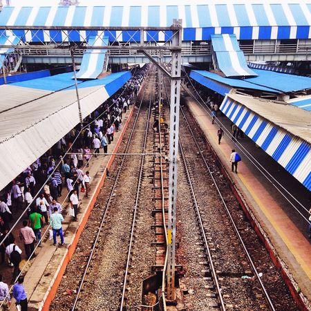 Parallel and the strokes of blue IPhoneography Railway Tracks Mumbai IPhone5