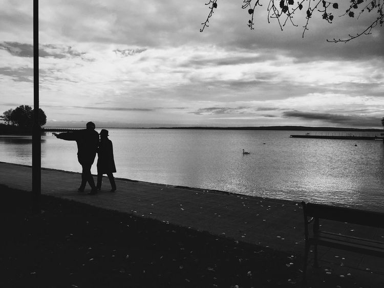 Married Marriedcouple Husband And Wife Beautiful Old Clouds Autumn Fall Nice View Blackandwhite Water Lake First Eyeem Photo