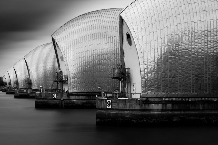 Cocoonish Architecture Blackandwhite Building Exterior Built Structure Day EyeEm Gallery Long Exposure Modern Monochrome Outdoors Sky Water