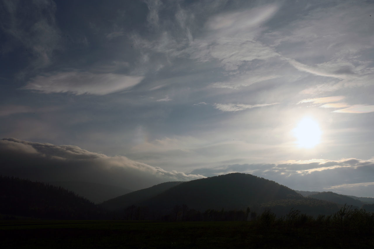 Beauty In Nature Beskid Niski Cloud - Sky Landscape Mountain Mountain Range No People Poland Scenics Silhouette Sunbeam