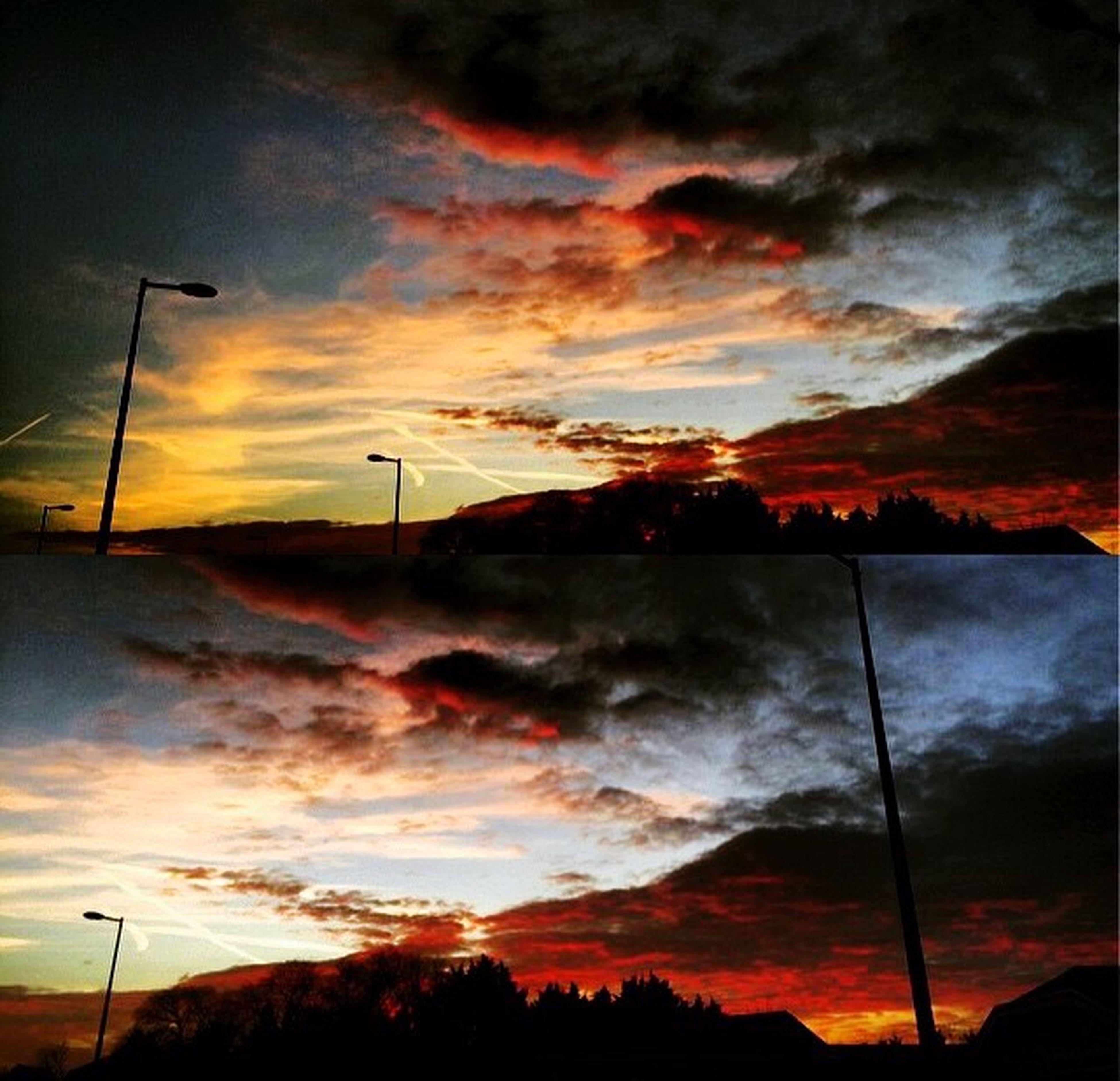 sunset, sky, orange color, cloud - sky, scenics, dramatic sky, beauty in nature, silhouette, tranquil scene, tranquility, cloudy, street light, electricity pylon, nature, weather, power line, landscape, idyllic, cloud, atmospheric mood