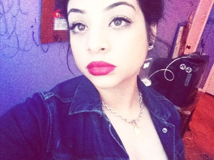 Bored tried to do serious face and red lipstick gay