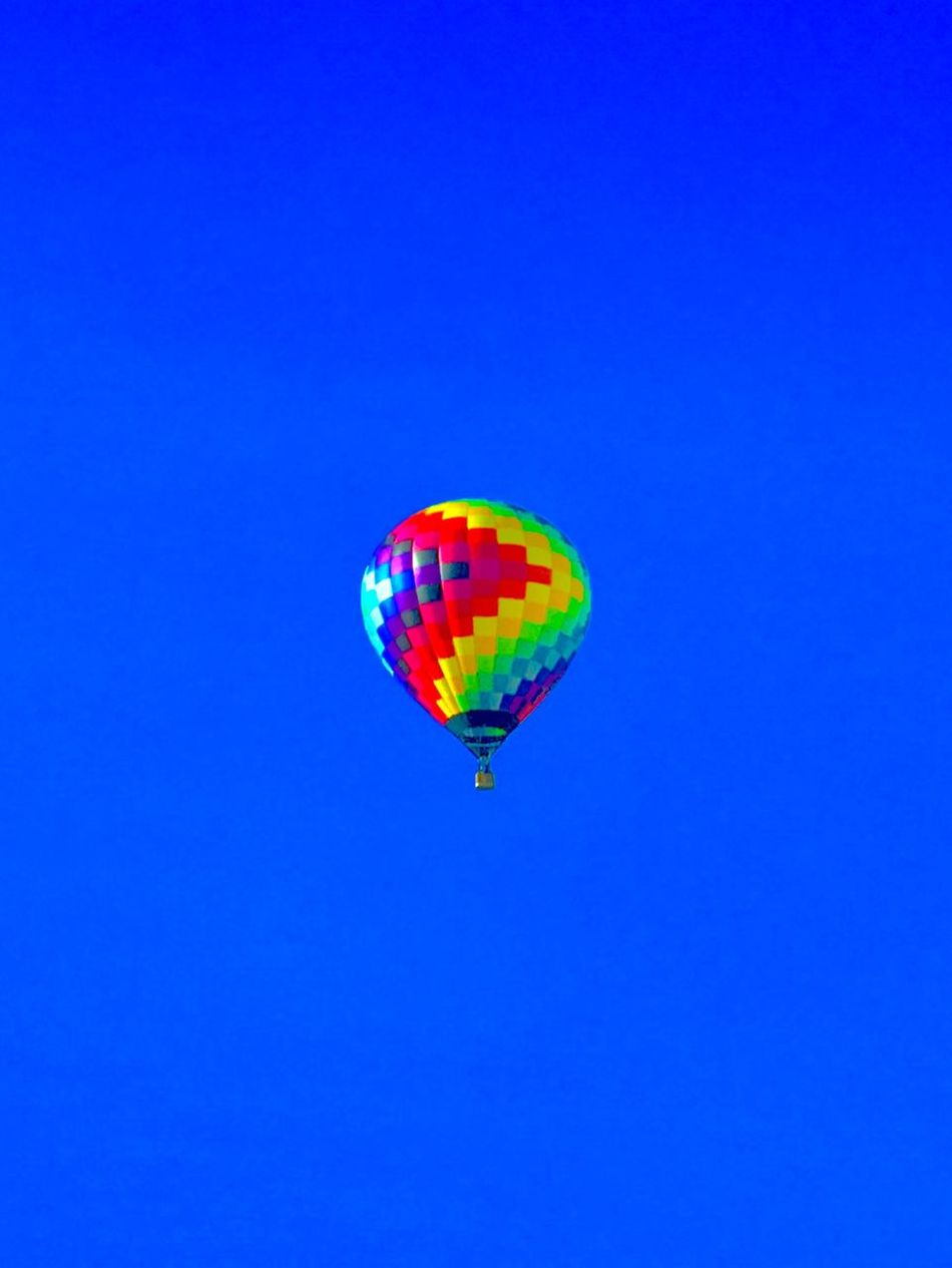 Copy Space Multi Colored Blue Flying Mid-air Transportation Clear Sky Hot Air Balloon Adventure Outdoors Day No People Parachute Check This Out EyeEmNewHere