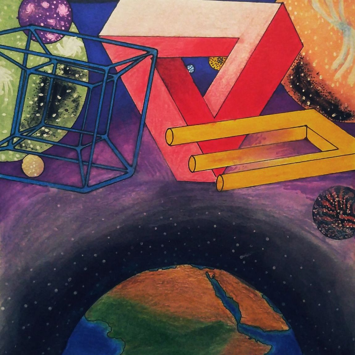 A Drawing I created. Rule Of Thirds Abstract 4th Dimension Paradox Multiverse Galaxies Earth 3rd Dimension Earth Without Art Is Just Eh Mixed Media Strong Composition Passionate Artist Art Student at Kennesaw State University Check This Out