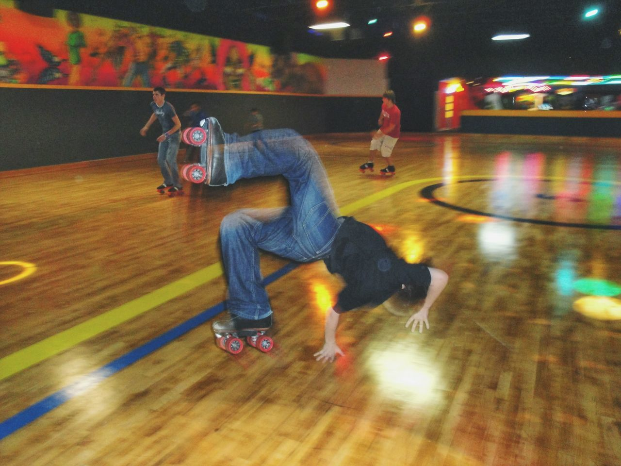 Gettin' tricky Jam Skating Roller Skating Photography In Motion Wood Floor Tricks Hand Stand  Jumping Flipping Twisting Tricky Motion Blur Action Shot  Neon Lights First Eyeem Photo Things I Like Alternative Fitness