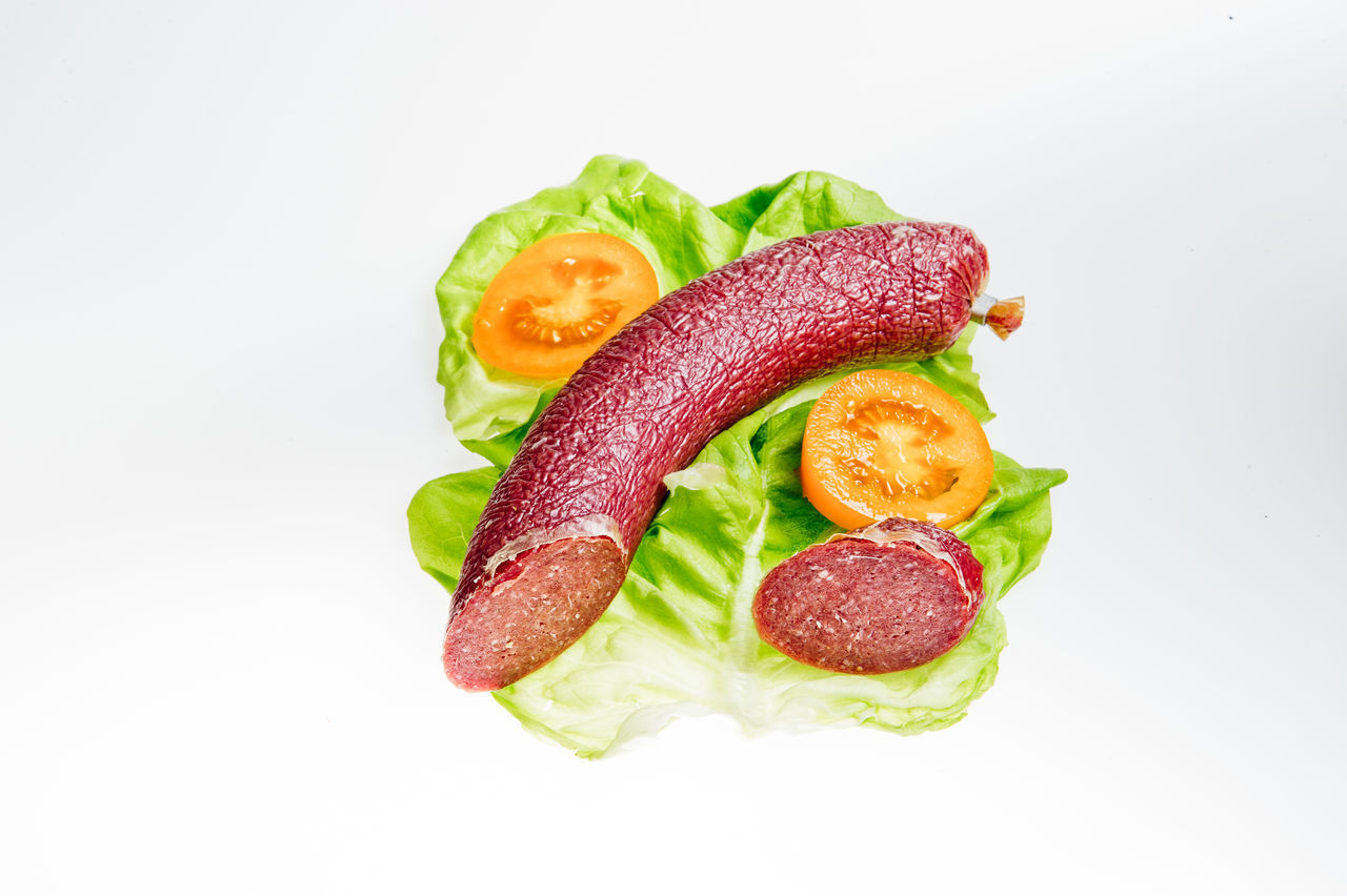 Studio Shot Healthy Eating Food Red White Background Red Bell Pepper Vegetable Gourmet Freshness Food And Drink Green Color No People Sandwich Close-up Meat Sausage Salami Letuce Chili Pepper