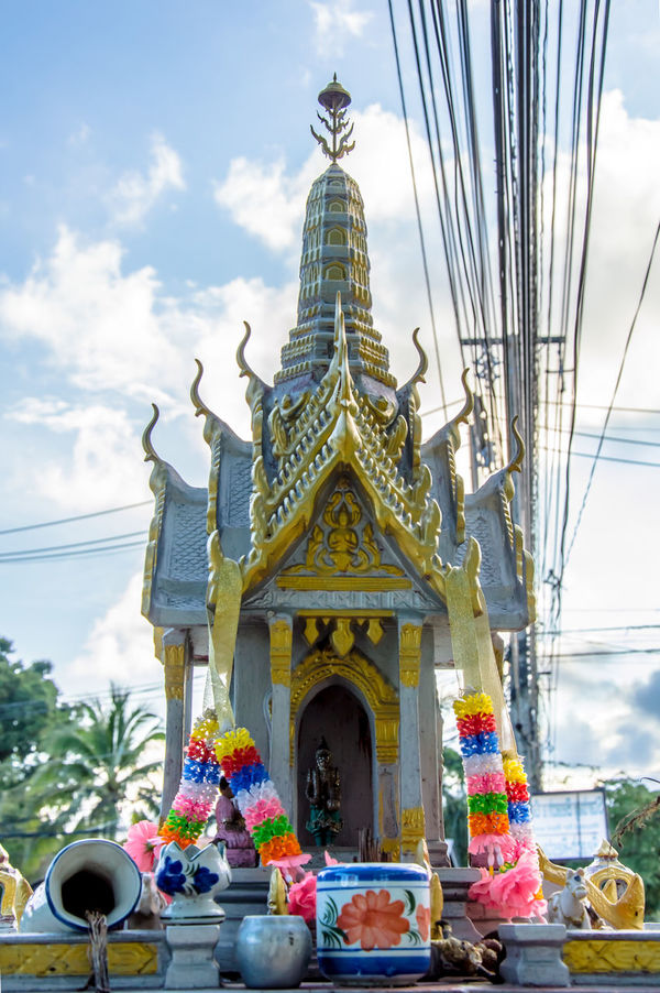 Altar Architecture Buddhist Built Structure Colorful Culture Day Gold Gold Colored No People Offerings Outdoors Place Of Worship Religion Religious  San Phra Phum Sky Spirit House Spirituality Statue Traditional
