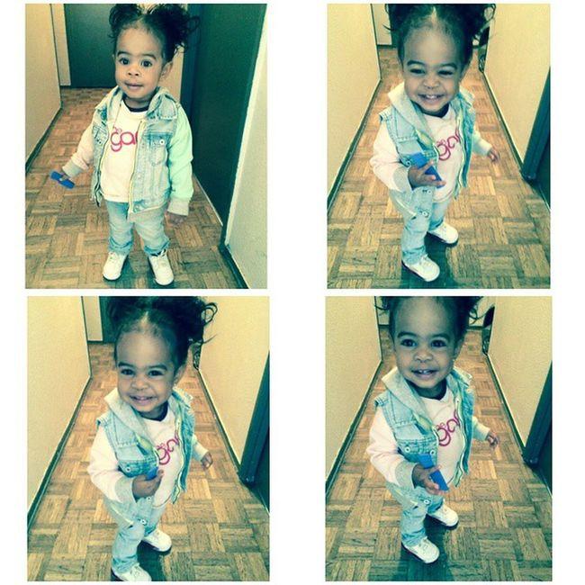 My Lil Swaggy Baby Girl 😍😍😍😍😍... She knew we were taking pics📷 😛😜 Baby Swag Jordan Zara kid fashion babymodel love family