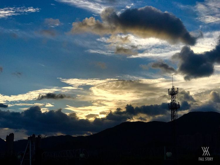 Sunset Sky Cloud - Sky Silhouette Connection Nature No People Technology Beauty In Nature Outdoors Low Angle View Scenics Electricity  Cable Antenna - Aerial Television Aerial Mountain Electricity Pylon Day