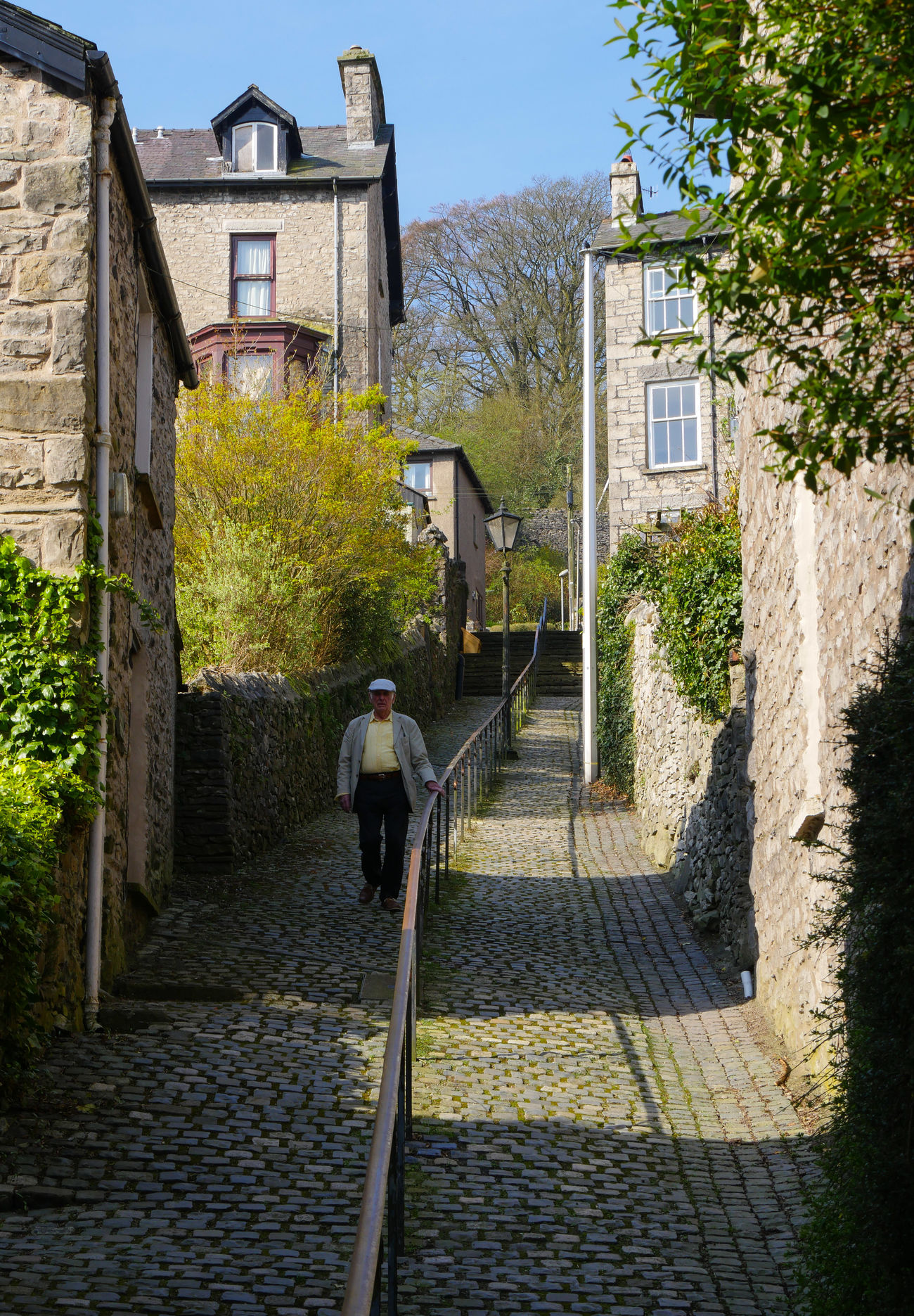 Lane Steep Hill Stone Sets Cobble Stones Gentleman  Walking Railings Terraced Houses Sunshine Shadows Stone Walls Windows Architecture Rooftops