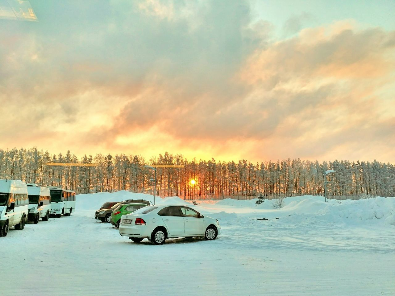 car, transportation, land vehicle, mode of transport, cold temperature, winter, snow, sky, no people, nature, cloud - sky, outdoors, tree, beauty in nature, scenics, day