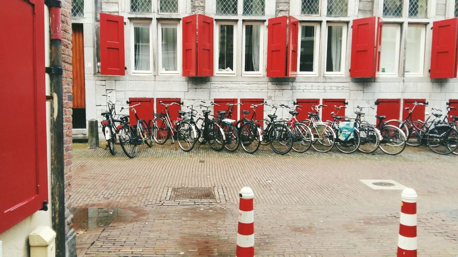 Red Windows Netherlands Utrecht Color Street Photo Bikes there are soo many different red. why is every thing in the Same  red here?. Color Matching